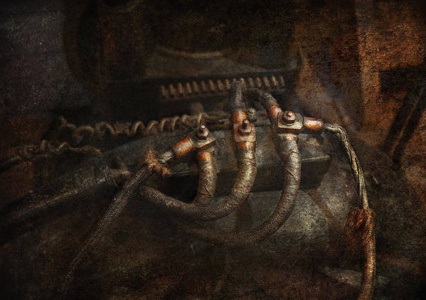 Hdr Art Print featuring the photograph Steampunk - Electrical - Frayed Connections by Mike Savad