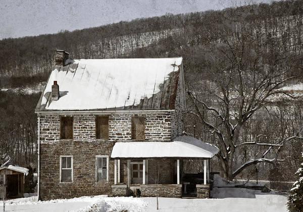 Farm Art Print featuring the photograph Stone Farmhouse In Snow by John Stephens