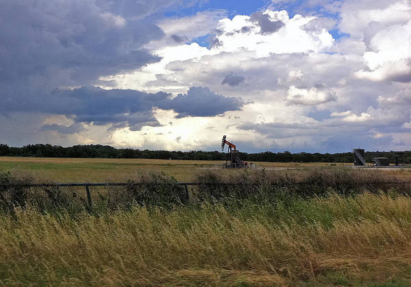 Pumpjack Art Print featuring the photograph Storm Moving In Out West by Mamie Thornbrue