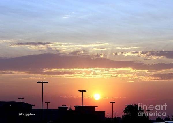 Sun Art Print featuring the photograph Sunrise Over The Shopping Mall by Yumi Johnson