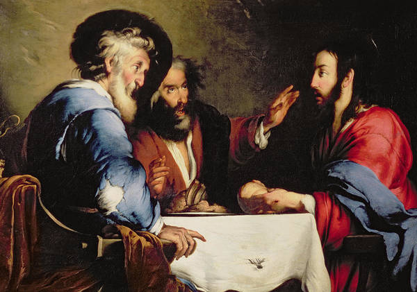 Supper At Emmaus Print featuring the painting Supper At Emmaus by Bernardo Strozzi