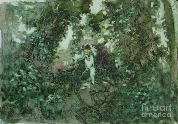 Kudzu Art Print featuring the painting Surprised Bather by Elizabeth Carr