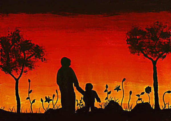 Dad Art Print featuring the painting The Bond by Sanjay Avasarala