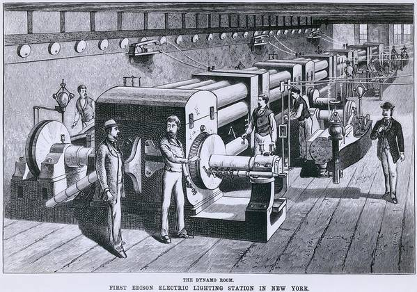 History Print featuring the photograph The Dynamo Room In The First Edison by Everett