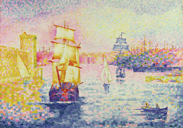 The Port Of Marseilles Art Print featuring the painting The Port Of Marseilles by Henri-Edmond Cross