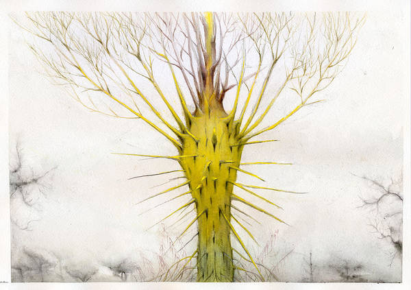 Yellow Art Print featuring the painting The Yellow Plant by Bjorn Eek