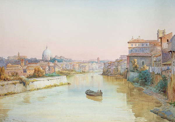 River; Tiber; Cityscape Art Print featuring the painting View Of The Tevere From The Ponte Sisto by Ettore Roesler Franz