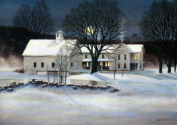 Winter Art Print featuring the painting Winter Glow by Karol Wyckoff