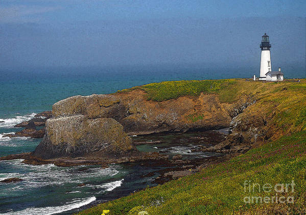 Oregon Art Print featuring the photograph Yaquina Head Lighthouse And Bay - Posterized by Rich Walter