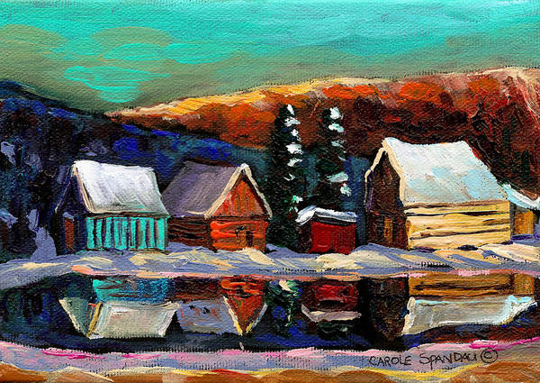 Quebec Winter Landscape Art Print featuring the painting Laurentian Landscape Quebec Winter Scene by Carole Spandau