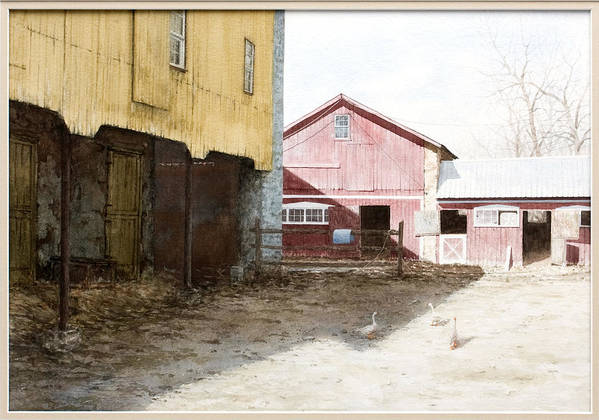 Barn Art Print featuring the painting Barn Yard by Steven J White PWS