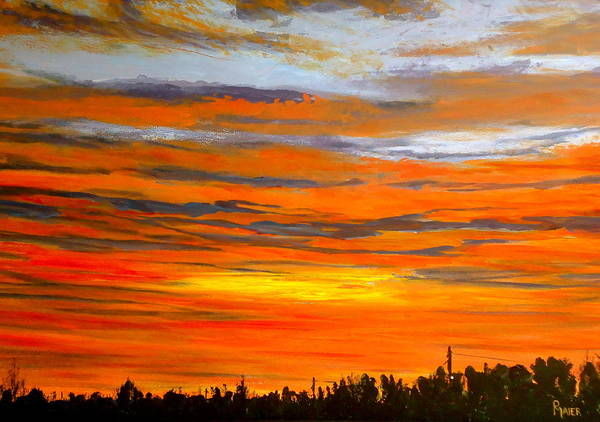 Sunrise Art Print featuring the painting Mornin by Pete Maier
