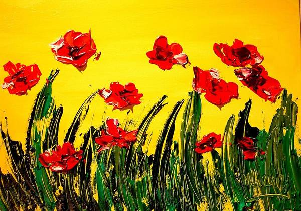 Red Poppies Art Print featuring the painting Red Poppies by Mark Kazav