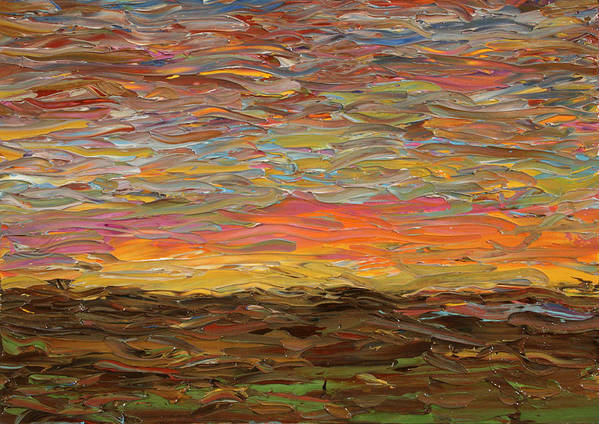 Sunset Art Print featuring the painting Sunset by James W Johnson