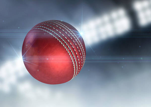 Cricket Art Print featuring the digital art Ball Flying Through The Air by Allan Swart