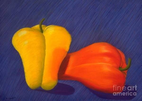 Vegetable Art Print featuring the painting 2 Peppers by Mary Erbert
