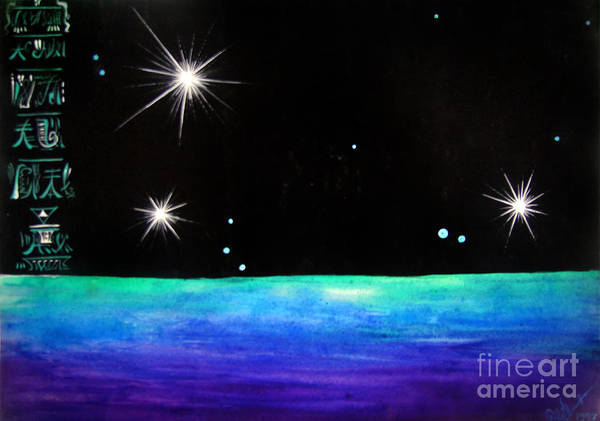 3 Art Print featuring the painting 3 Sisters - 3 Stars Dancing At Night by Sofia Metal Queen