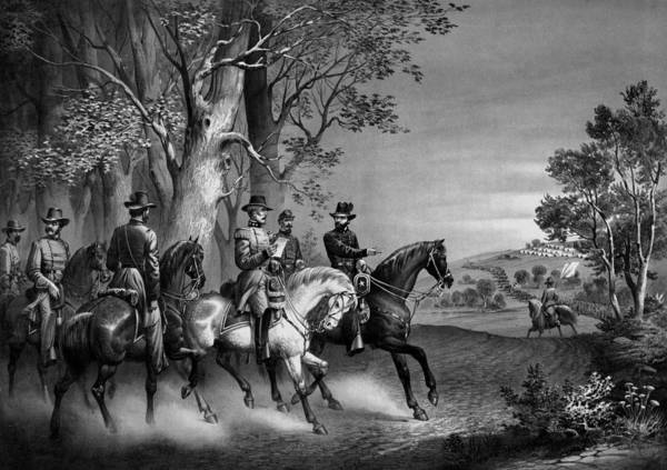 General Grant Art Print featuring the drawing The Surrender Of General Lee by War Is Hell Store
