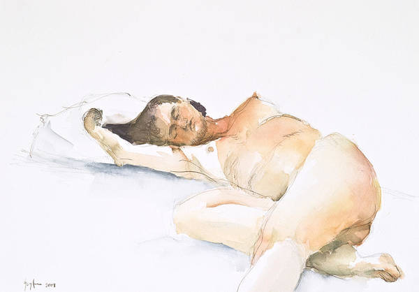 Sleeping Figure Art Print featuring the painting Nude Series by Eugenia Picado
