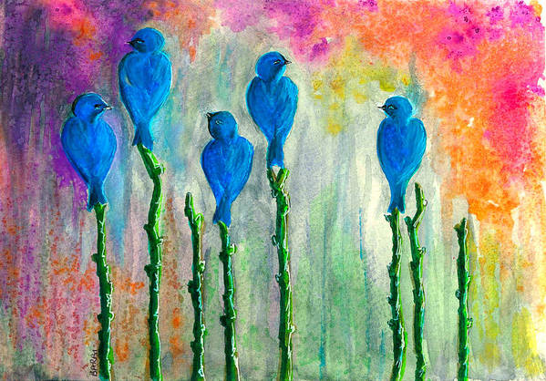 Five Art Print featuring the painting 5 Bluebirds Of Happiness by Barbi Holzmann