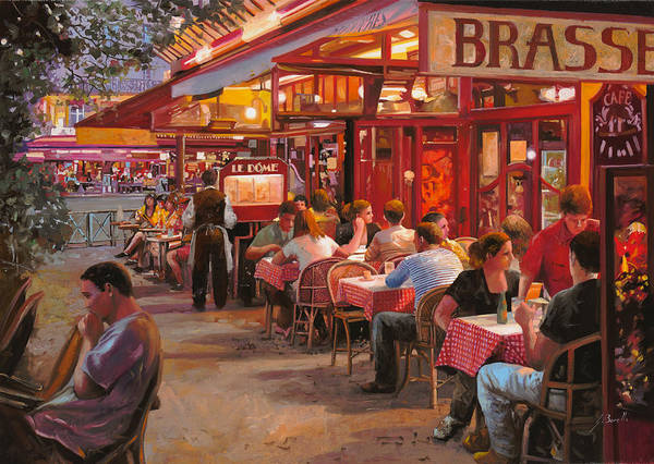Street Scene Art Print featuring the painting A Cena In Estate by Guido Borelli