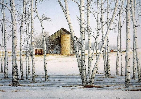 Rural Art Print featuring the painting A Cluster Of Birch by Conrad Mieschke