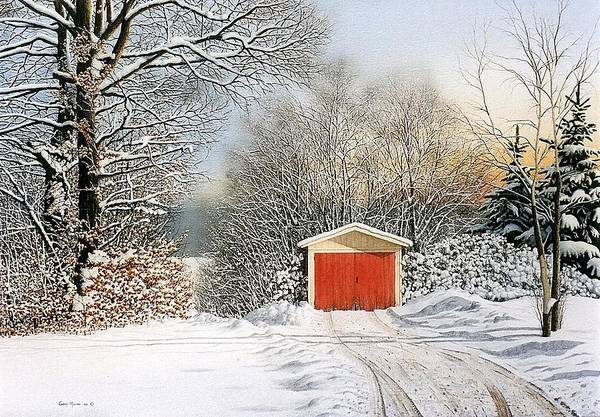 Scenic Art Print featuring the painting A Day In December by Conrad Mieschke