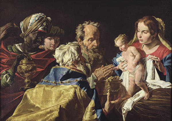 Adoration Art Print featuring the painting Adoration Of The Magi by Matthias Stomer