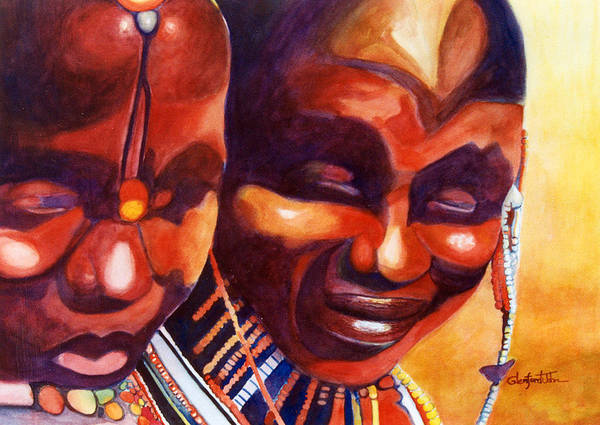 Queen Art Print featuring the painting African Queens by Glenford John