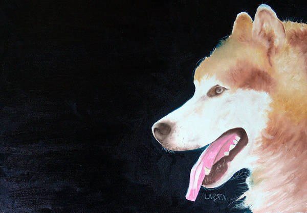 Art Print featuring the painting Alaskan Malamute by Dick Larsen