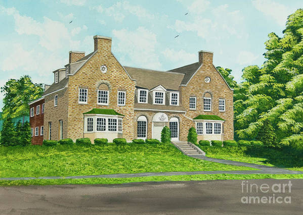 Colgate University Fraternity House Art Print featuring the painting Alpha Tau Omega by Charlotte Blanchard