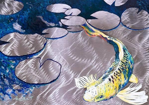 Koi Fish Metal Art Oil Painting Art Print featuring the painting Aluminum Print, Koi Fish Print On Metal. Fish Art - Yellow - Blue - Green 3d Painting Of Koi Fish, A by Sasha Toporovsky