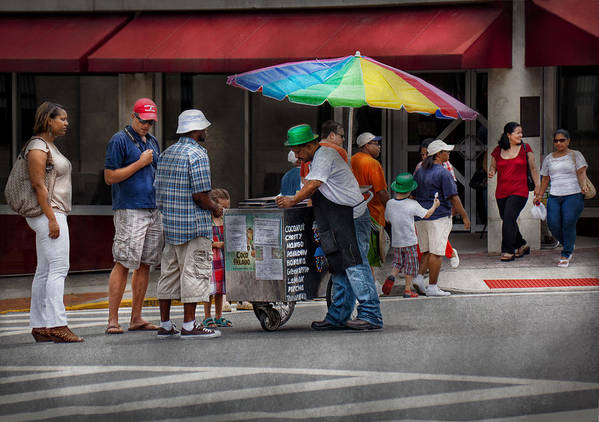 Hdr Art Print featuring the photograph Americana - Mountainside Nj - Buying Ices by Mike Savad