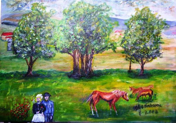 Landscape Horses Lovers Art Print featuring the painting Amish Courtship At Berlin Ohio by Alfred P Verhoeven