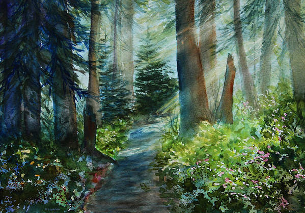 Landscape Print featuring the painting Around The Path by Kerri Ligatich