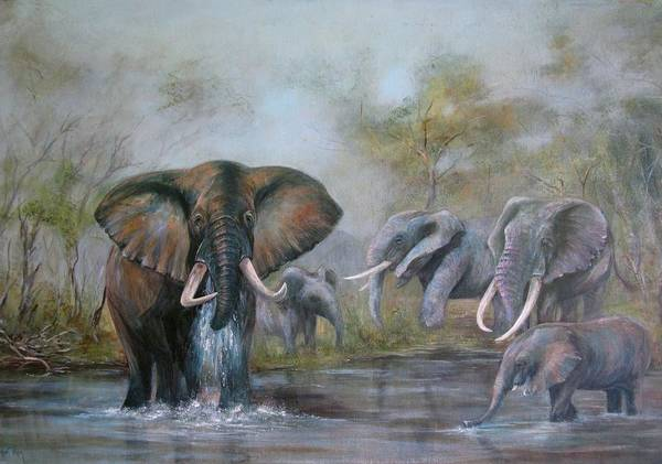 Wildlife Art Print featuring the painting At The Waterhole by Rita Palm