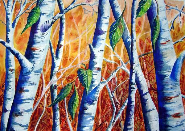 Autumn Birch Trees Art Print featuring the painting Autumn Birch by Joanne Smoley