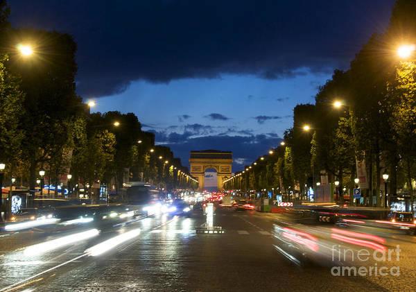 Paris Print featuring the photograph Avenue Des Champs Elysees. Paris by Bernard Jaubert