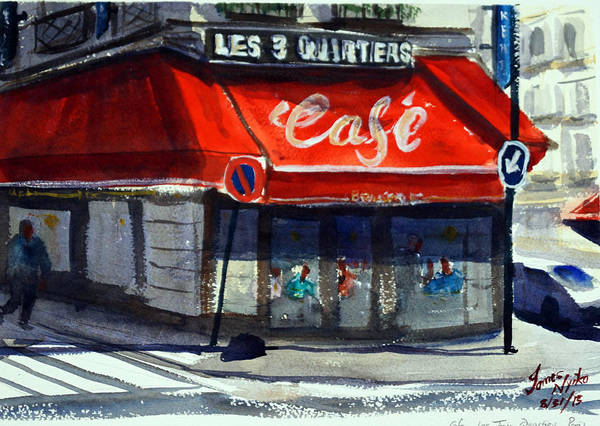 Cafe Art Print featuring the painting Bar Les 3 Quartiers by James Nyika