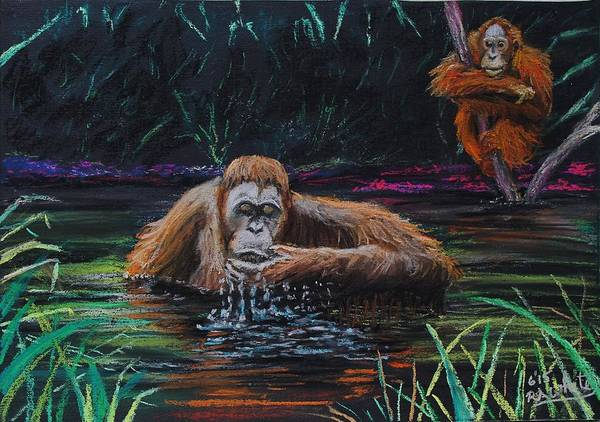 Ape Art Print featuring the painting Bathtime by Richard White