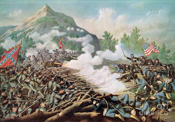 Battle Of Kenesaw Mountain Art Print featuring the painting Battle Of Kenesaw Mountain Georgia 27th June 1864 by American School