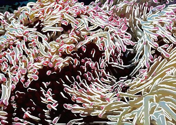 Starfish Art Print featuring the painting Beautiful Coral Reef 1 by Lanjee Chee