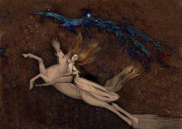 William Blake Art Print featuring the digital art Beyond2 by Henriette Tuer lund