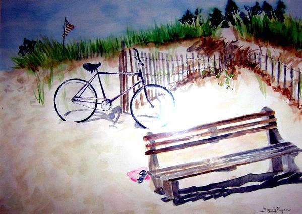 Bicycle Art Print featuring the painting Bicycle On The Beach by Sandy Ryan