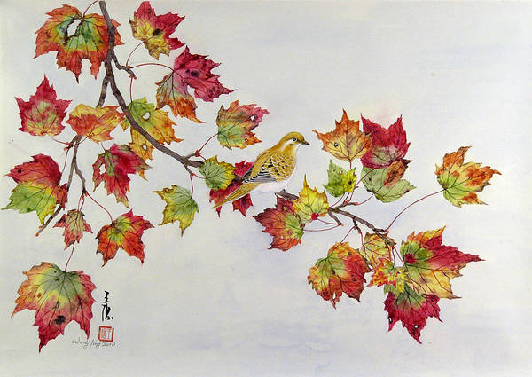 Bird Art Print featuring the painting Birds On Maple Tree 1 by Ying Wong