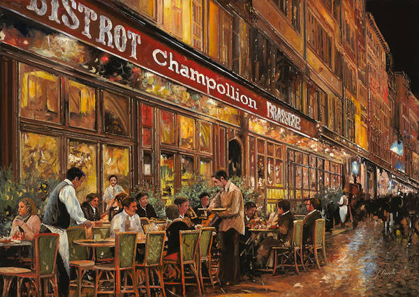 Street Scene Art Print featuring the painting Bistrot Champollion by Guido Borelli