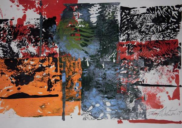 Abstract Art Print featuring the painting Black Cat Firecracker by Edward Wolverton