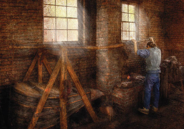 Savad Art Print featuring the photograph Blacksmith - It's Getting Hot In Here by Mike Savad