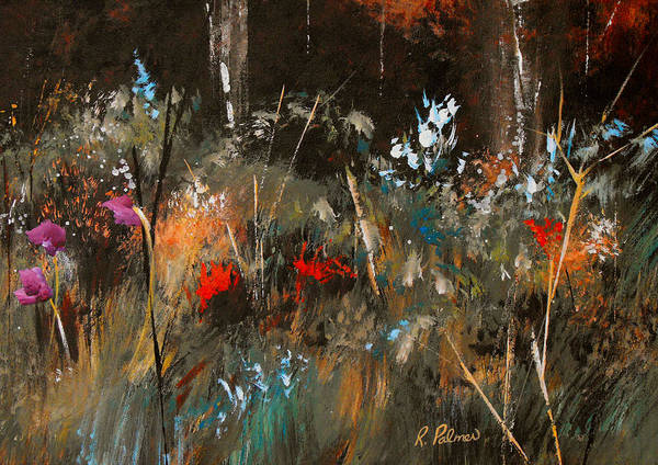 Abstract Art Print featuring the painting Blue Grass And Wild Flowers by Ruth Palmer