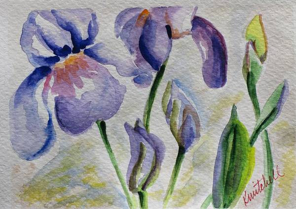 Floral Art Print featuring the painting Blue Iris by Kathy Mitchell